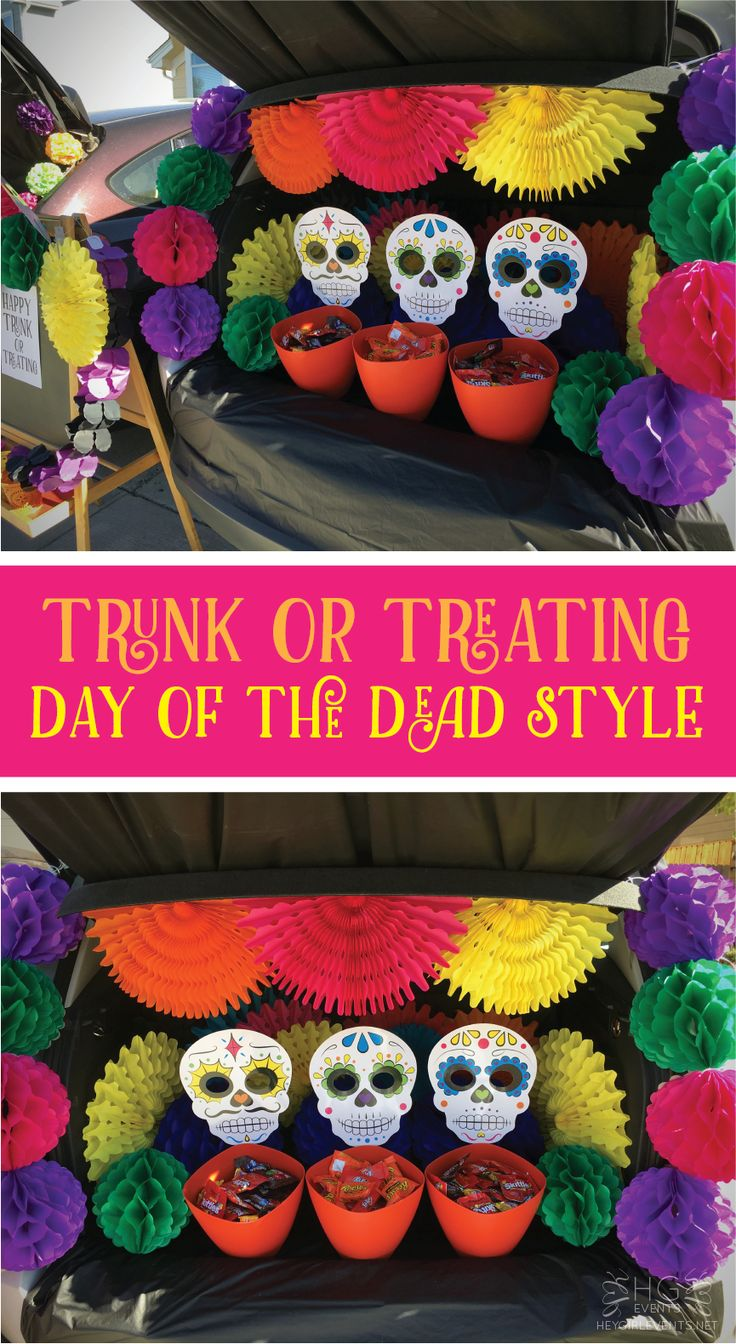 Trunk or Treating 2016 Blog Hop. Day of the Dead theme by Hey Girl Events. www.heygirlevents.com