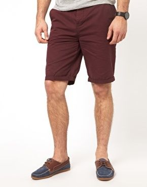 $38, Burgundy Shorts: Asos Chino Shorts In Longer Length. Sold by Asos. Click for more info: https://lookastic.com/men/shop_items/68112/redirect