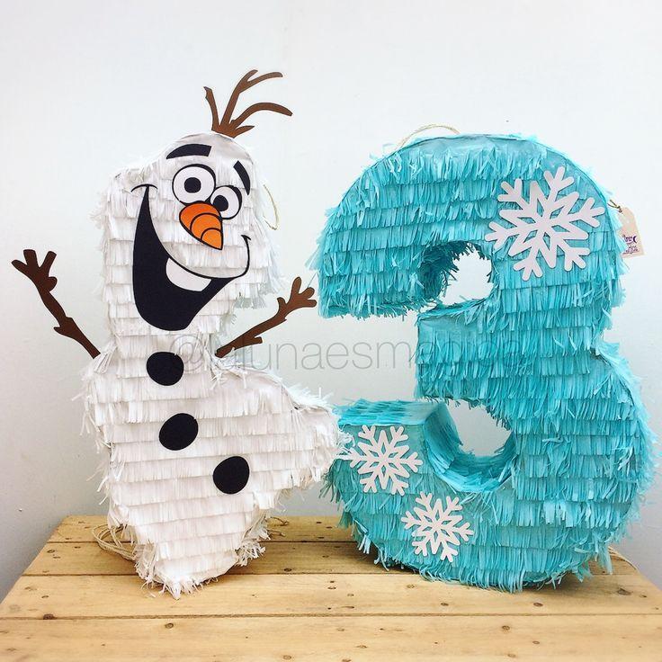Piñata @lalunaesmagica · Piñata de número y Olaf de Frozen