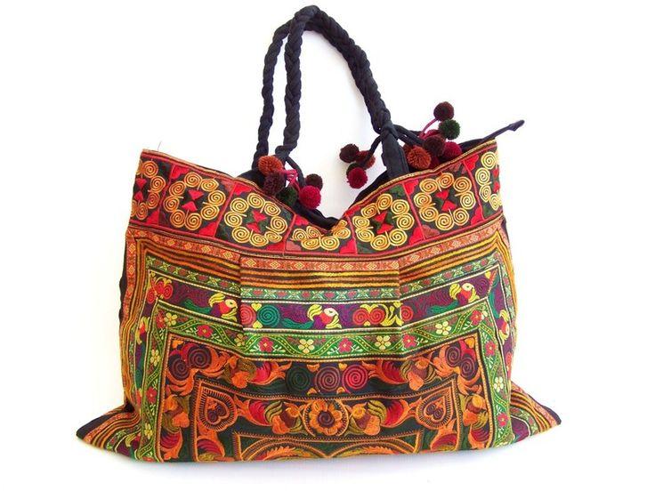 Handtassen - Grote zak, 54 x 40cm, geborduurd in Ethno Stijl - Een uniek product van Siamrose op DaWanda