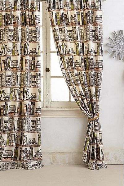 The most adorable bookish curtains don't come cheap, but similar fabric does.