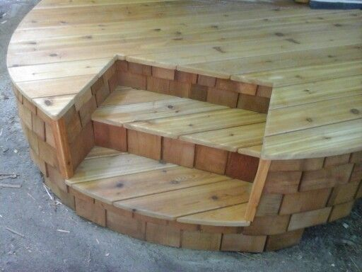 Best Round Deck With Inset Steps Cedar Decking And Shingles 400 x 300