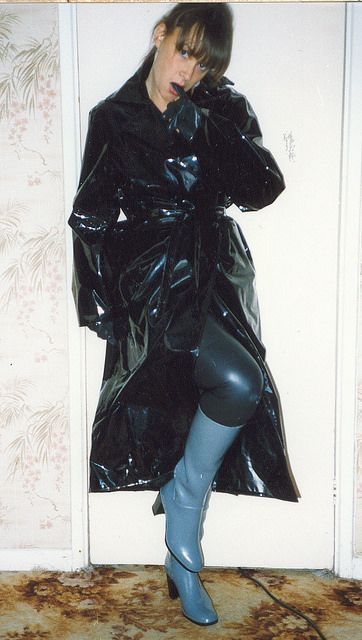 Black PVC Raincoat & Grey Rubber Boots