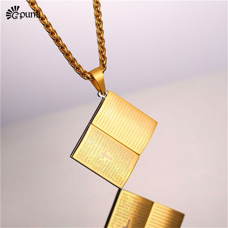 Religious Jesus gold / blue Holly Bible Necklaces & Pendants 316L stainless steel Book Charms Christian Power Necklace P2436G