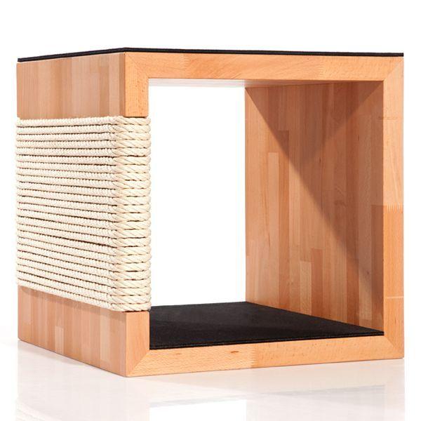 Design Kratzbaum aus massivem, edlen Holz, Sisal und Wollfilz. - Kratzbäume und Katzenmöbel aus Massivholz und Natur-Materialien