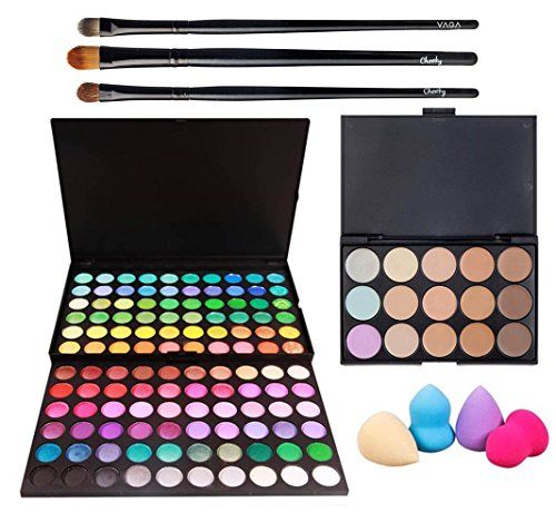 Best Price And Quality Professional Make Up Artists Set With Palettes of 15 Tones / Shades Blendable Concealers, 120 Different Vibrant Colors Eyeshadows / Eyes Shadows In Hard Cases, Application Brushes And 4 Different Latex Free Sponges Applicators / Blenders By VAGA ** Learn more by visiting the image link.