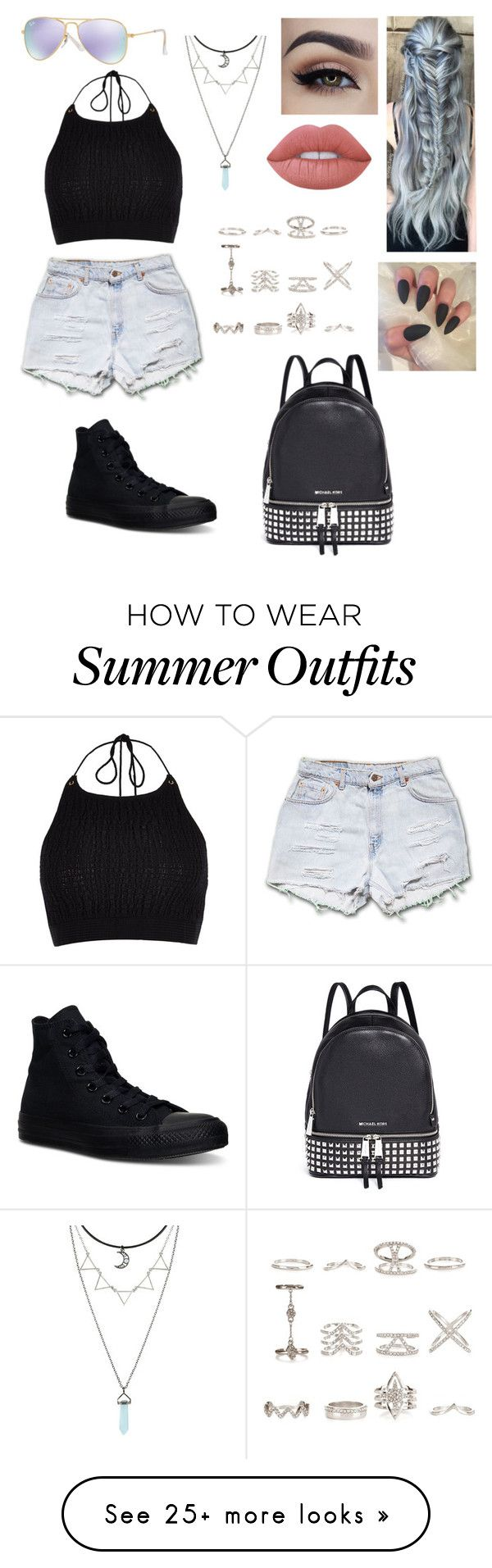 """Summer outfit"" by depressednstressed on Polyvore featuring River Island, Lime Crime, Converse, New Look, Michael Kors and Ray-Ban"