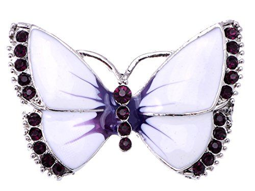 a63a6f9481d Alilang Painted Enamel Amethyst Crystal Rhinestone Butterfly Fashion  Jewelry Pin Brooch