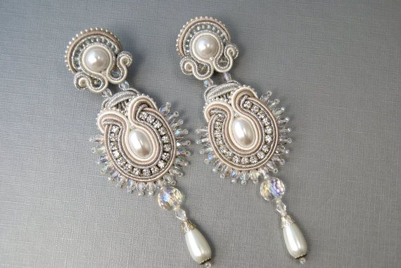 Bridal Long Soutache Ear Clips by BeadsRainbow on Etsy, $99.00