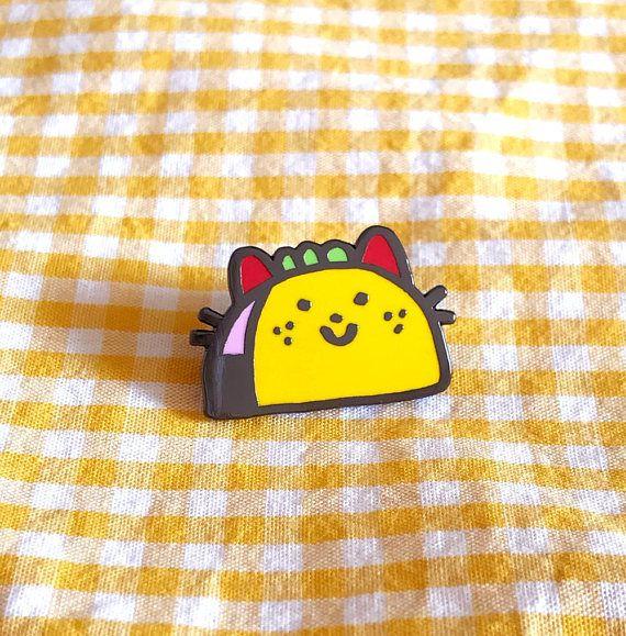 yummy taco cat enamel pin