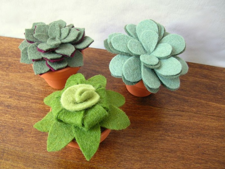 Artificial Potted Felt Plant Collection // Felt Succulent Trio in Small Pots // Apartment Decor by OrdinaryMommy on Etsy. $85,00, via Etsy.