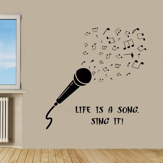 Wall Art Quotes From Songs : Microphone wall decals music quotes life is a song