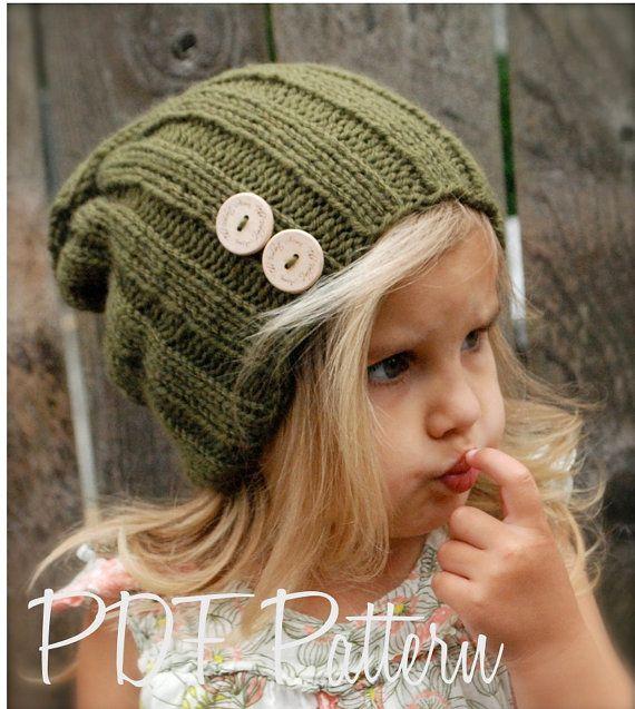 Knitting PATTERNThe Blaine Slouchy Toddler Child by Thevelvetacorn, $5.50