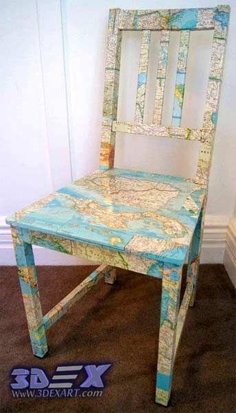 Meubles d'art avec des cartes du monde, décor d'art de carte du monde, chaise avec carte du monde