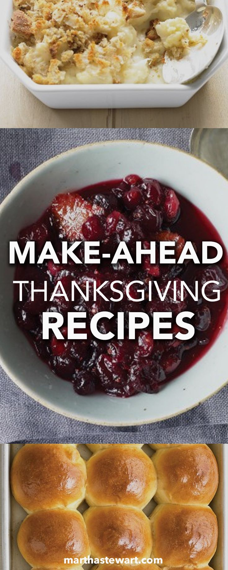 With multiple appetizers, an epic array of side dishes, and an assortment of pies to prepare -- not to mention the great big bird at the center of the table -- making Thanksgiving dinner can be overwhelming to even the most seasoned cooks. That's why we like to make as many dishes ahead of time as we possibly can. Here are our best make-ahead recipes for appetizers, side dishes, and desserts so you can have more time to enjoy your guests on Thanksgiving Day.