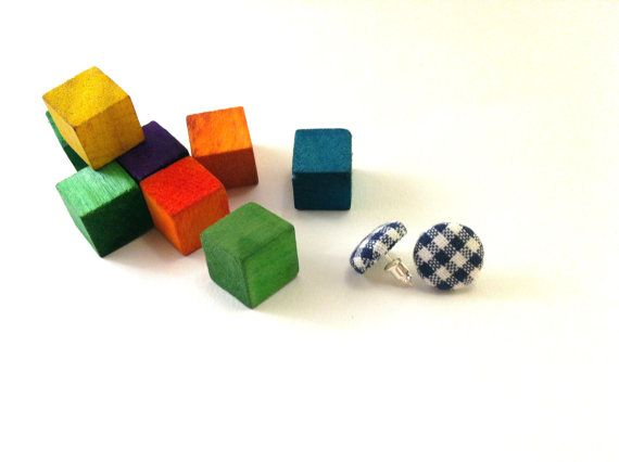 Blue chequered  fabric covered button earrings Get by Mariabuttons,