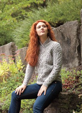 Galloway Pullover Pattern from the KnitPicks Illuminated Lines Collection eBook---what is it about the red hair on this model that makes the sweater look so good? :-)