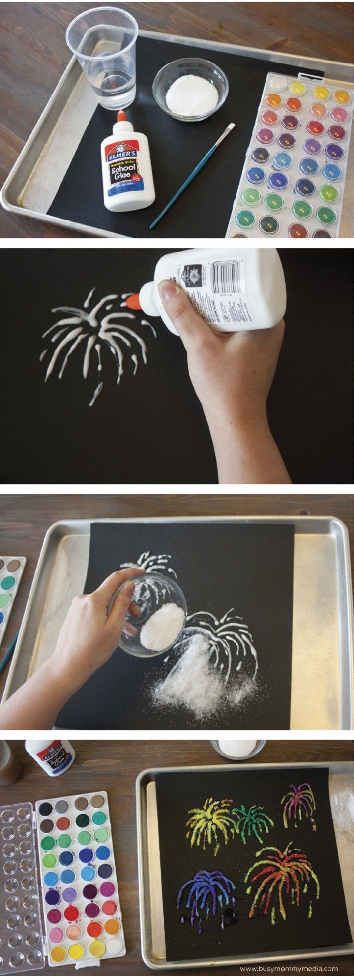 Firework Salt Art. Cool art project for kids! I love that it uses stuff I already have on hand. This would be awesome for the 4th of July or a rainy day activity!