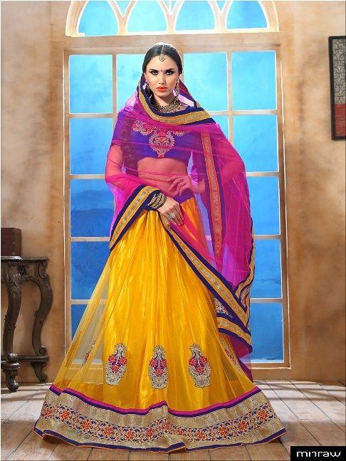 #gorgeous yellow net lehenga choli