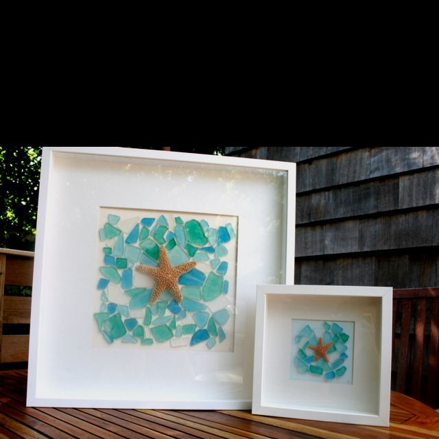 Sea glass Art. I have seen a few star fish washed up on the rocks while looking for glass. I may take them next time.