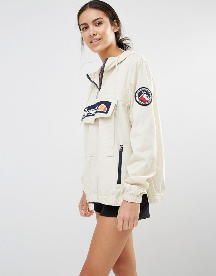 ELLESSE PULLOVER HOODED JACKET WITH HALF ZIP AND LOGO ON FRONT. #dress #fashion #style #trend #onlineshop #shoptagr