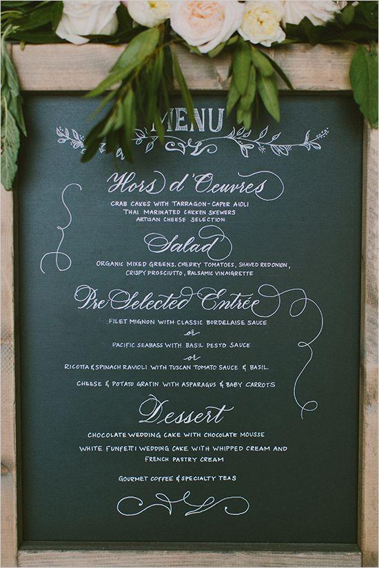 wedding menu chalkboard @weddingchicks