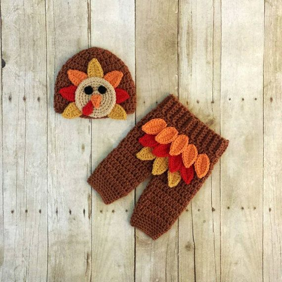 Crochet Baby Turkey Hat Pants Set Beanie Thanksgiving Accessory Infant Newborn Photography Photo Prop Handmade Baby Shower Gift    Comes in