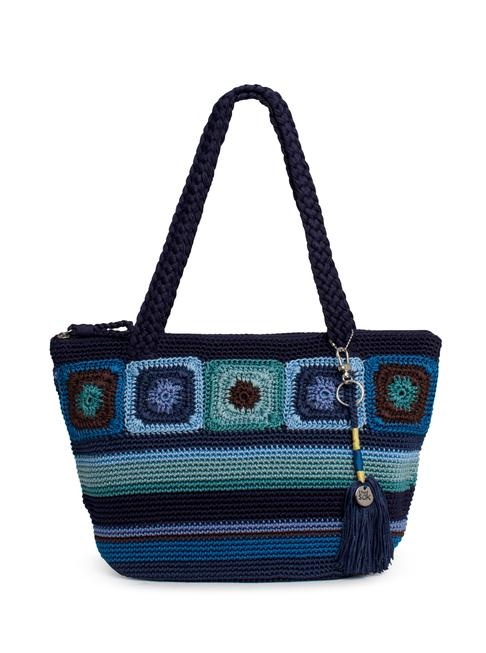 "Loads of crocheted totes over at The Sak -- the latest feature granny square-style motifs (this is the Kenya Medium Round Tote in ""Neptune"")"