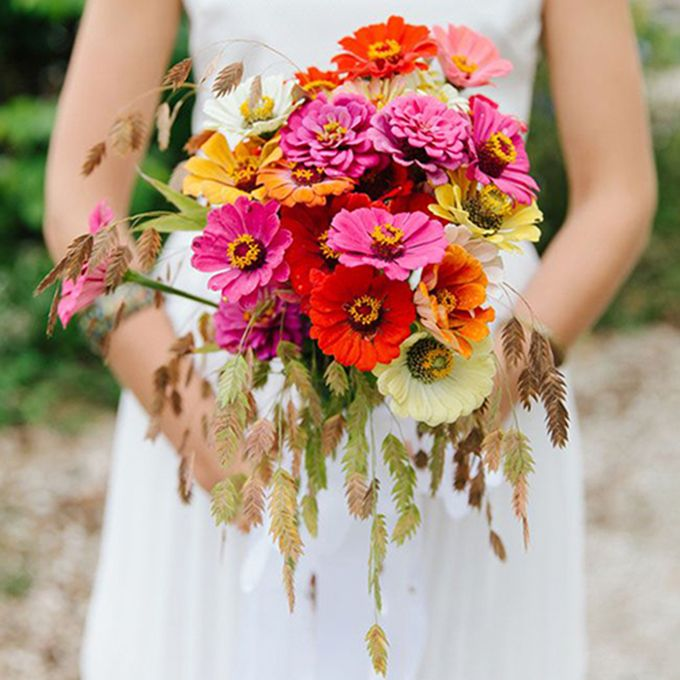 Brides.com: . Zinnia. Gardeners are wild about this flower because it attracts butterflies, and brides love it for the gorgeous variety of colors like magenta (lasting affection) and scarlet (constancy).
