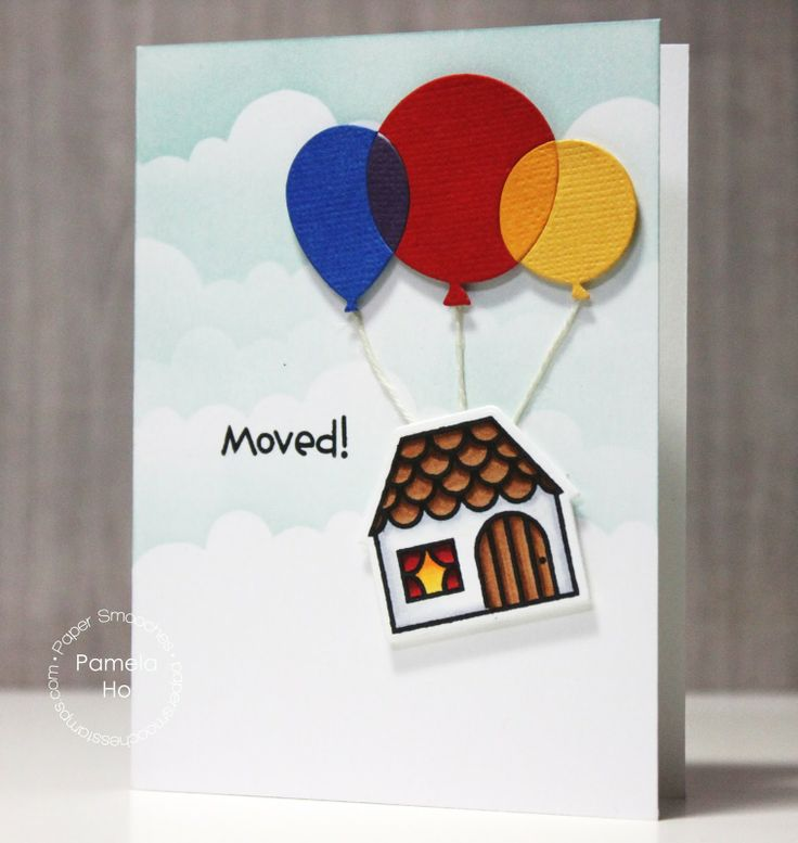 Card by PS DT Pamela Ho using the PS Bitty Bungalows stamp set along with the Balloons dies