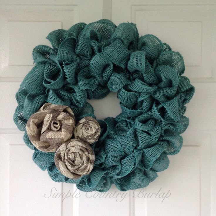 Spring teal burlap wreath with gray and white chevron burlap roses by SimpleCountryBurlap on Etsy https://www.etsy.com/listing/215541952/spring-teal-burlap-wreath-with-gray-and