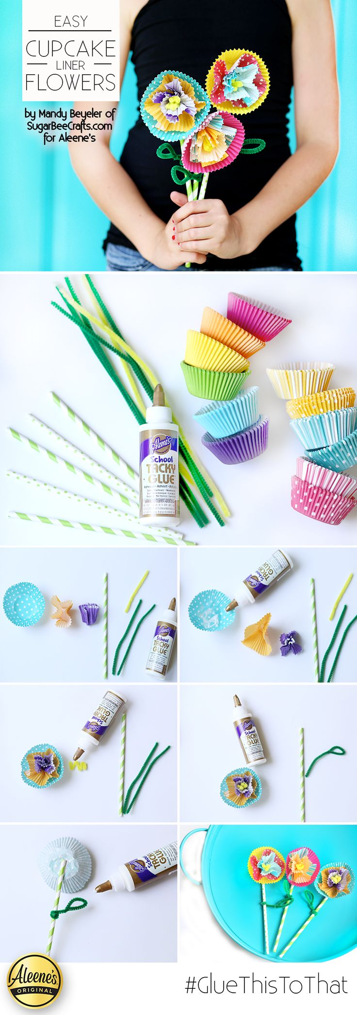 Make these awesome cupcake liner flowers using just a few simple supplies crafts and Aleene's School Tacky Glue! Get the how-to DIY from Mandy Beyeler of @sugarbeecrafts on our blog! A great project for Back to school or for a fun summer boredom buster!