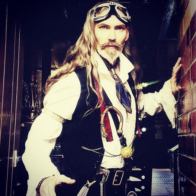 Saving the world in a #steampunk styli  #goggles #braces #cravat #dashing #dandy #buckles #belt #watchchain #copper #pipe #beard #tache #waxed #TimeTravel  #paradox #anomaly  #TheHair