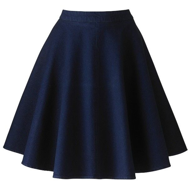 Simply Be Denim Skater Skirt (220 VEF) ❤ liked on Polyvore featuring skirts, bottoms, indigo, circle skirt, knee length skater skirt, blue skirt, flared skirt and denim skater skirt