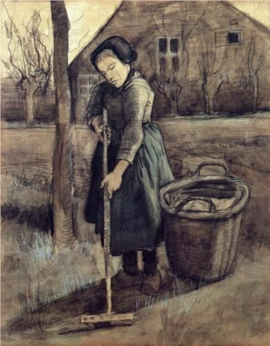 Vincent van Gogh: Peasant Girl Raking. Watercolor, Black chalk, watercolou. Etten: October, 1881. Utrecht, The Netherlands.