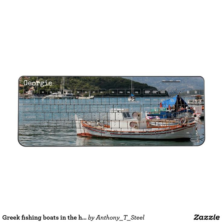 Greek fishing boats in the harbour wireless keyboard Personalise this wireless keyboard with your name. It's printed all over with a photo of colourful Greek fishing boats in the harbour, on the island of Meganissi. It would make a great gift for anyone who loves Greece.