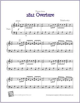 Theme from 1812 Overture (Tchaikovsky) | Free Sheet Music for Piano - http://makingmusicfun.net/htm/f_printit_free_printable_sheet_music/eighteen-twelve-overture-for-piano-solo.htm