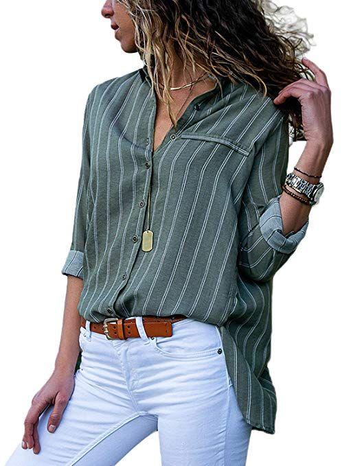 91cba6e68 HOTAPEI Juniors Casual V Neck Striped Button Up Chiffon Blouses for Women  Fashion 2018 Long Sleeve