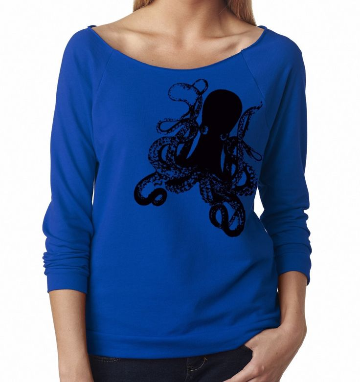 Women's Octopus Sweatshirt Comfy Clothing Cute Sweat Shirts Animal Print Long Sleeve Tops Active wear for the gym Fall Fashion by MoxieMadness on Etsy https://www.etsy.com/listing/196740936/womens-octopus-sweatshirt-comfy-clothing