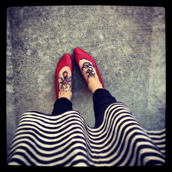 vintage red shoes, octopus anchor tattoo and stripes. me. my style.