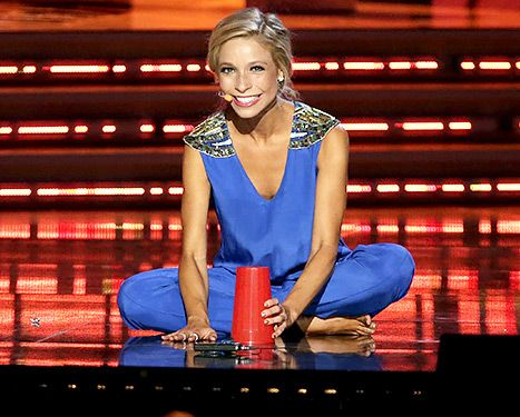 Kira Kazantsev, Miss America 2015, performing her talent at the Miss America 2015 pageant.