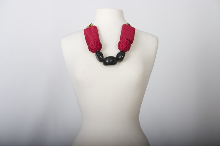 Arquitectual red & black, tagua & iraca palm necklace. Hand made.   SS 2013  www.CordoBags.com