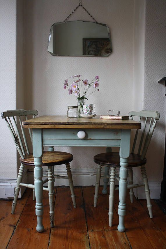 Characterful Rustic Vintage French Kitchen Table With Cutlery Drawer In Pale Pistachio Dining Room Table Decor Dining Room Small Home Decor
