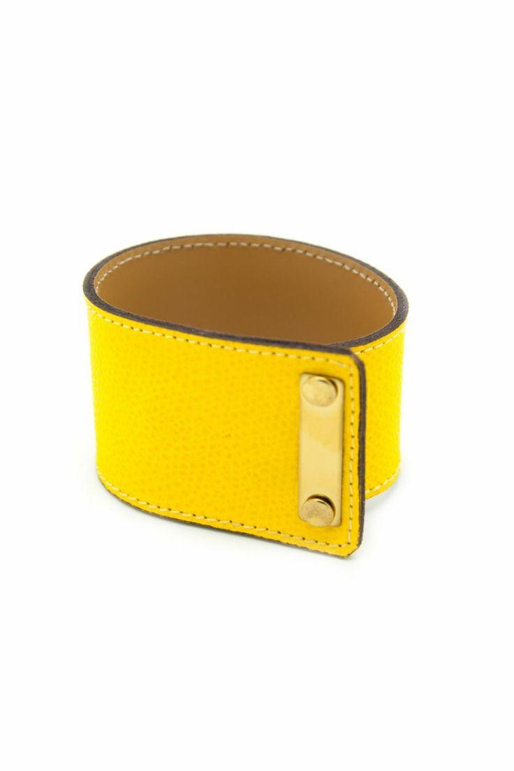 Altın Kaplama Plakalı Sarı Crocodile Desenli Deri Bileklik. Tasarım. Leather bracelet