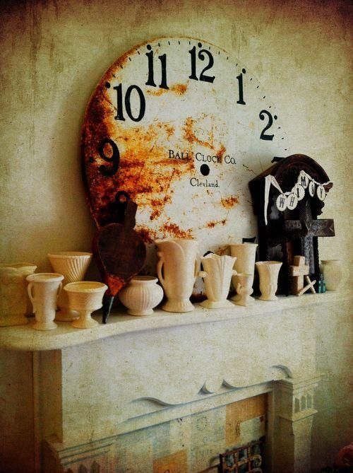 Whimsy: Patinas White, Clocks Fetish, Cream Vase, View, Ticktacktick Clocks