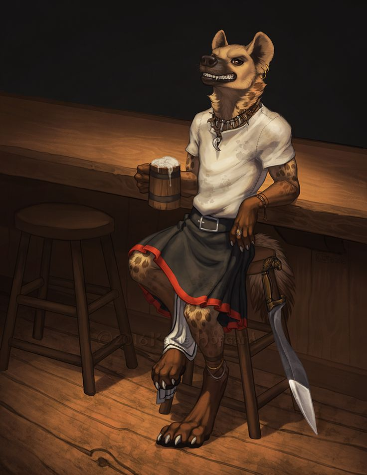 I'd Like To See You Try by KatieHofgard gnoll werejackal anthro jackal dog kilt fighter barbarian mercenary monster armor clothes clothing fashion player character npc | Create your own roleplaying game material w/ RPG Bard: www.rpgbard.com | Writing inspiration for Dungeons and Dragons DND D&D Pathfinder PFRPG Warhammer 40k Star Wars Shadowrun Call of Cthulhu Lord of the Rings LoTR + d20 fantasy science fiction scifi horror design | Not Trusty Sword art: click artwork for source