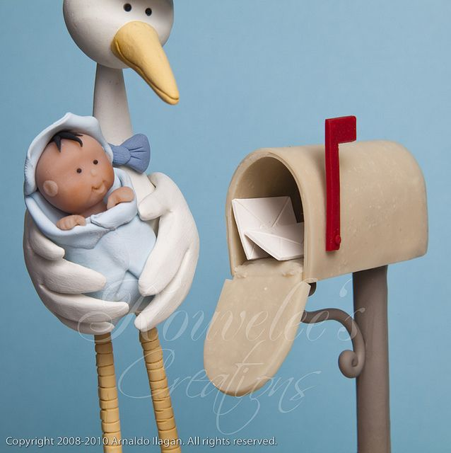 Stork with baby....so sweet...., other photos of toy....just click through to find other photos of clay items