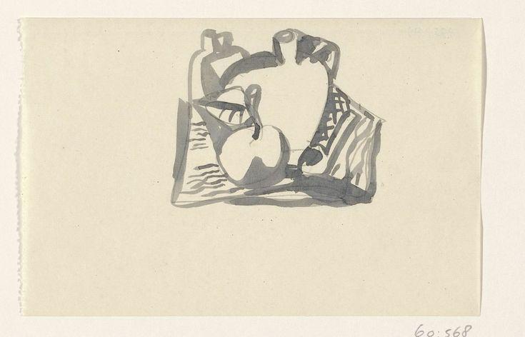 Leo Gestel | Ontwerp voor een vignet: stilleven, Leo Gestel, 1891 - 1941 | Ontwerp voor een prent.