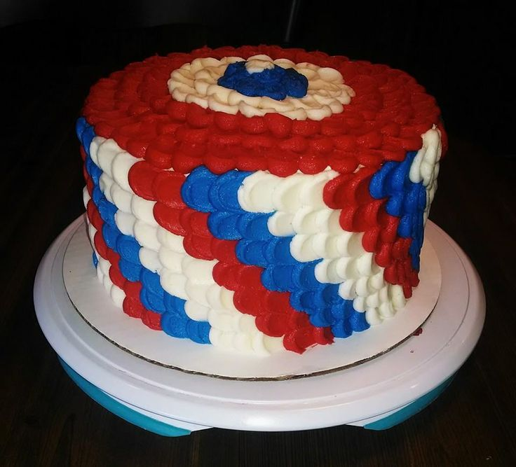 Petal Cake, Red, White and Blue Cake, Patriotic Cake, Fourth of July ...