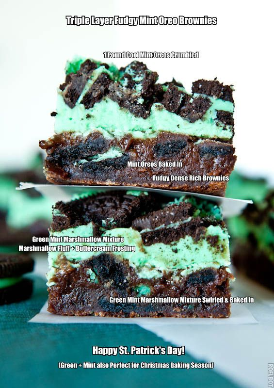 Triple Layer Fudgy Mint Oreo Brownies. Dense rich brownies, minty Marshmallow Fluff + buttercream frosting + Mint Oreos. Best brownies ever.